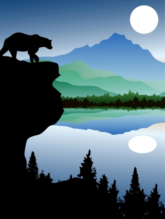 bear with landscape background Vector