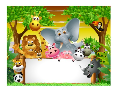 Wild African animal cartoon with blank sign