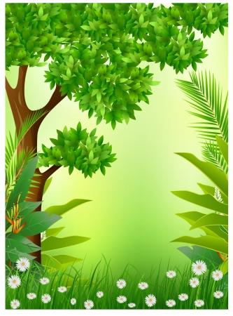 ochtend dauw: tropisch bos achtergrond Stock Illustratie