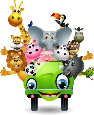 funny animal cartoon set in green car Vector