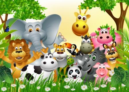 hippopotamus: Historieta divertida del animal salvaje africano Vectores