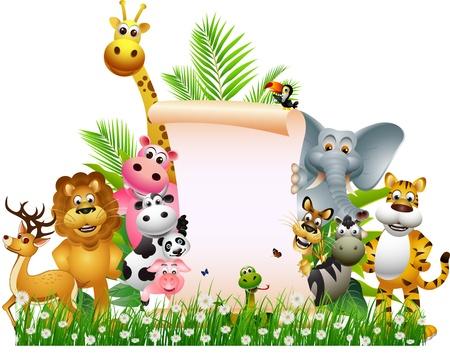 mandril: Cartoon Animal salvaje africano con la muestra en blanco