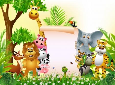 selva caricatura: Historieta animal divertida con la muestra en blanco Vectores