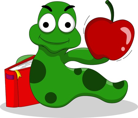 lombriz: orugas con los libros y la manzana