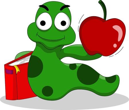regenworm: rupsen met boeken en appel Stock Illustratie
