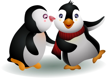 young couple penguin cartoon Vector