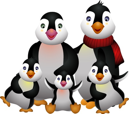 happy pinguin family Vector
