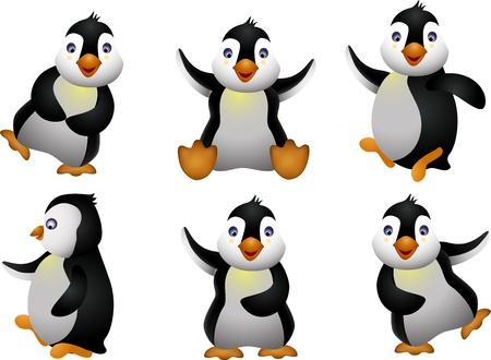 pinguino caricatura: joven ping�ino del juego de caracteres Vectores