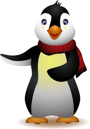 pinguino caricatura: lindo ping�ino de dibujos animados Vectores