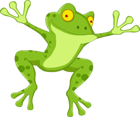 rana: dibujos animados rana feliz