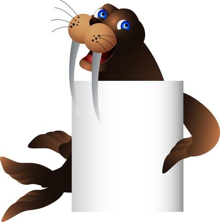 walrus: walrus with blank sign