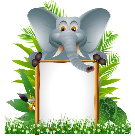 funny elephant cartoon with blank sign Illustration