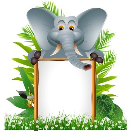 big ear: funny elephant cartoon with blank sign Illustration