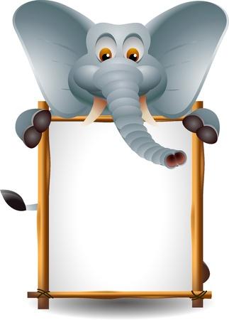 elefante de dibujos animados divertidos con la muestra en blanco
