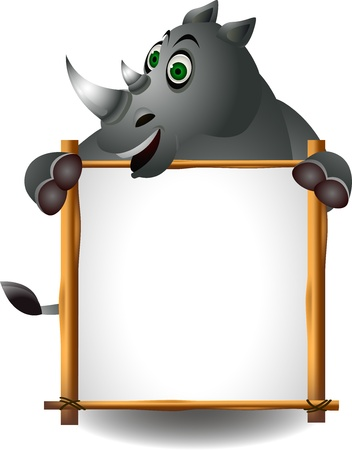 funny rhino with blank sign Vector
