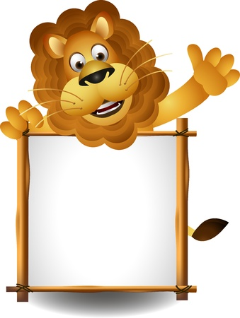 border cartoon: funny lion with blank sign