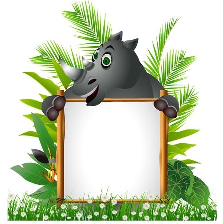 african grey: funny rhino with board