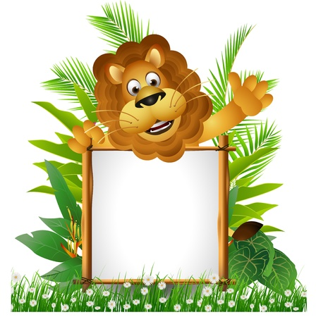 forest symbol: lion cartoon with board Illustration