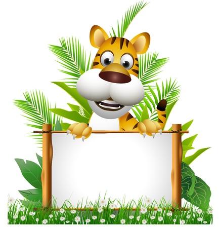 tigre caricatura: tigre de la historieta con el tablero Vectores