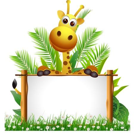 jirafa caricatura: lindo jirafa con tablero Vectores