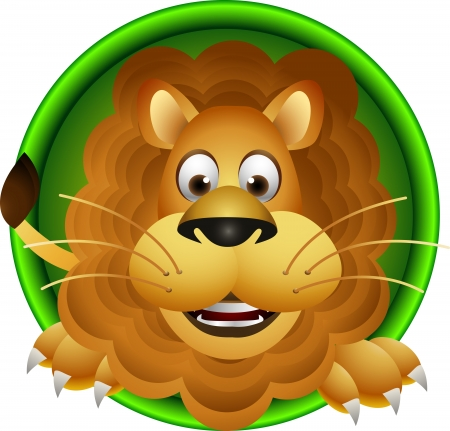 safari animal: lion head cartoon Illustration