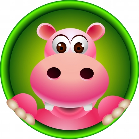 cute hippopotamus head Illustration