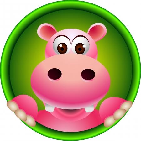 cartoon hippo: cute hippopotamus head Illustration