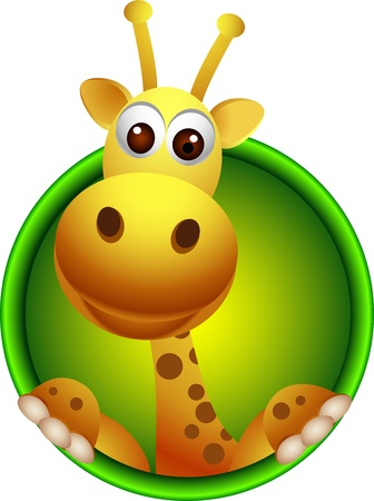 stupid body: cute giraffe head cartoon Illustration