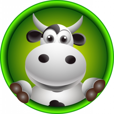 cute cow head cartoon Illustration