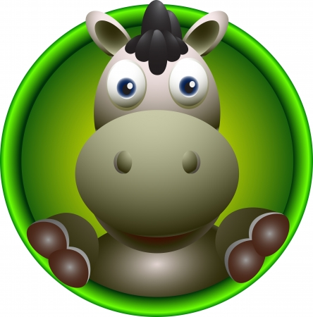 cute donkey head cartoon Vector