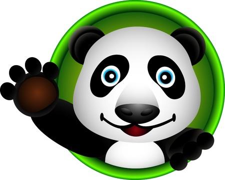 giant panda: cute panda head cartoon