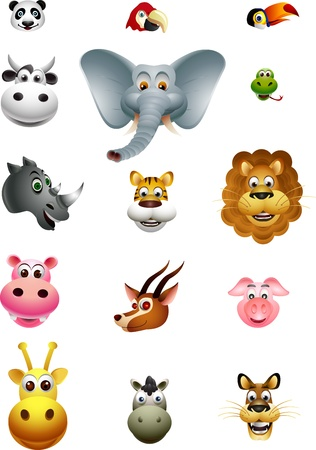 safari animal: cute head animal cartoon collection Illustration