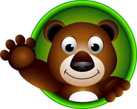 ourson: brun mignon de bande dessin�e t�te d'ours