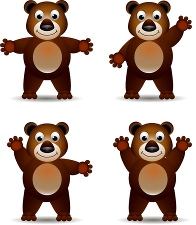 cute brown bear expression Vector