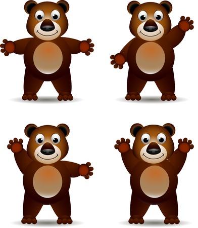 kahverengi: sevimli boz ayı ifade Çizim