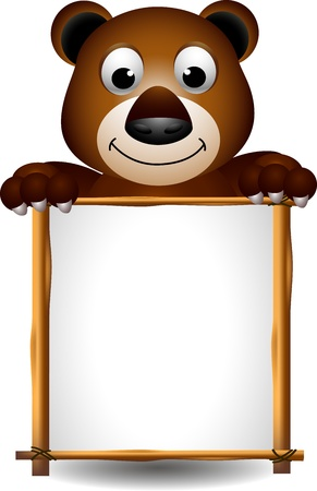 cute brown bear with board Vector