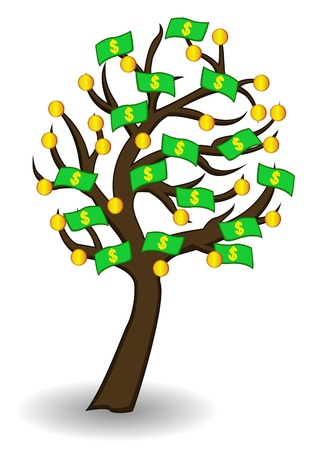 tree of money and gold Vector