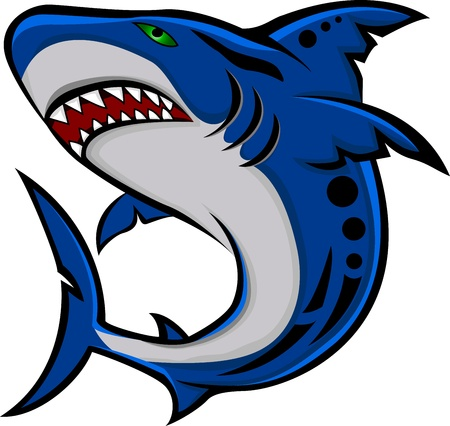 mascots: angry shark Illustration