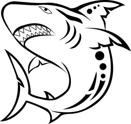 predatory: angry shark tribal tattoo