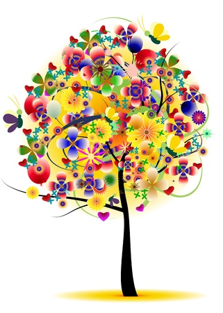 tree flower abstract background Stock Vector - 15498141