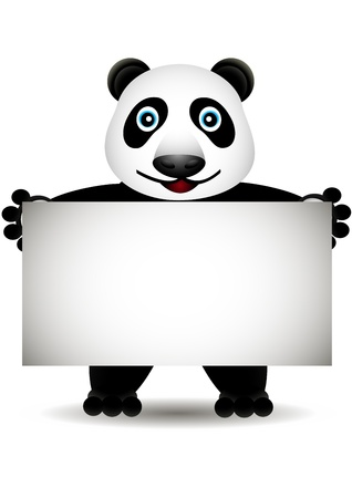 sign  childhood: cartoon panda with blank sign Illustration