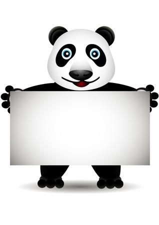 babyish animal: cartoon panda with blank sign Illustration