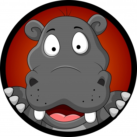 funny hippopotamus head cartoon