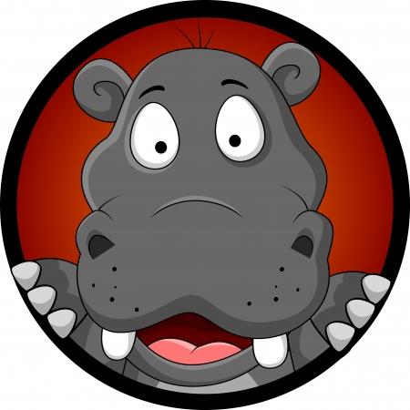 hipopotamo cartoon: historieta divertida cabeza hipopótamo Vectores