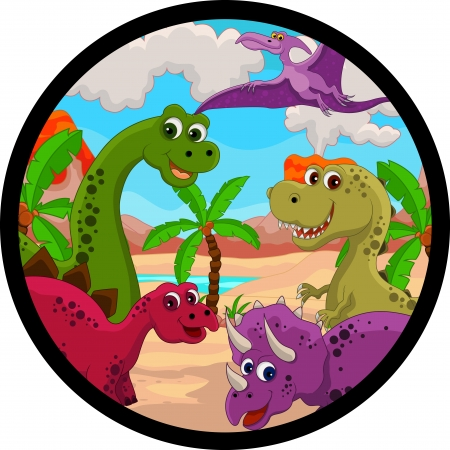 funny dinosaur cartoon Vector