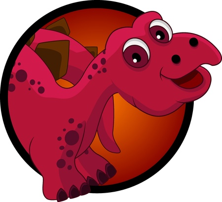 stegosaurus: funny dinosaur head cartoon Illustration