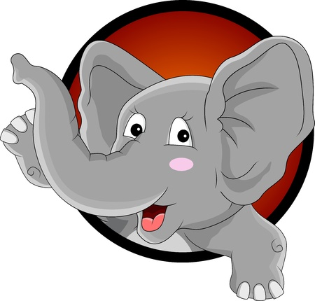 funny elephant head cartoon cartoon Vector