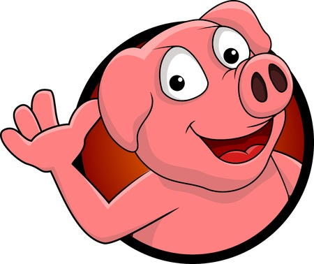 happy pig cartoon isolated Vector