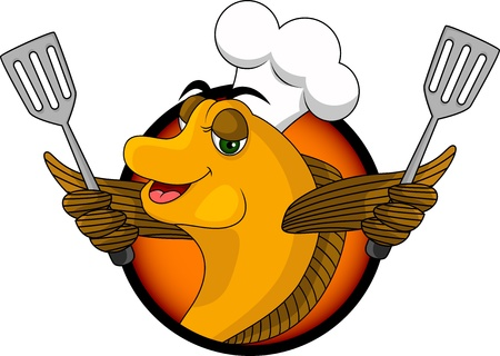 funny cartoon cook fish Vector