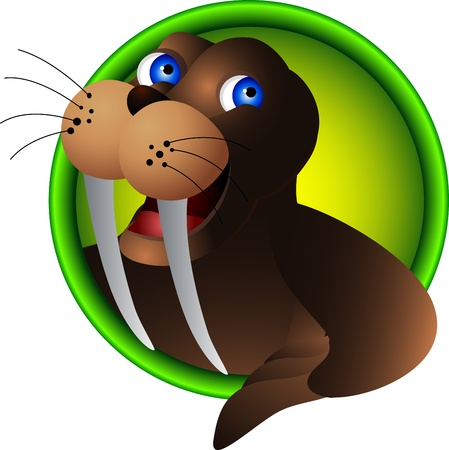 cute walrus head cartoon Vector